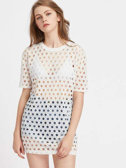 Top di cut-out a pois con spalle scivolate