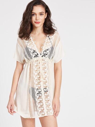 V Neckline Hollow Out Crochet Lace Beach Dress