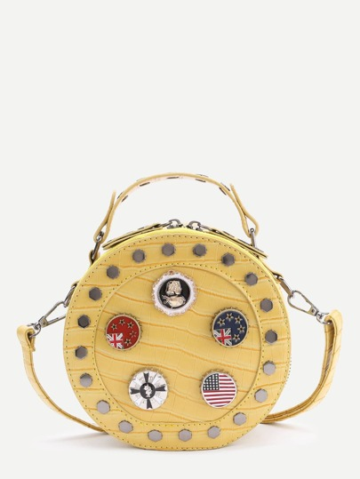 Badge And Studded Design Round Crossbody Bag