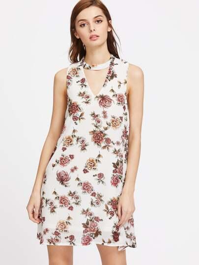 Floral V Cut Back A-Line Dress