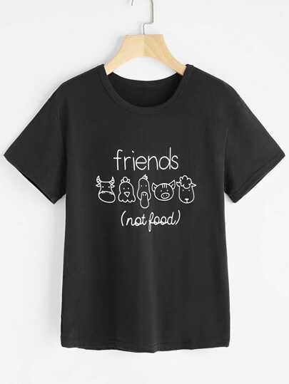 Camiseta estampada de dibujo y letras