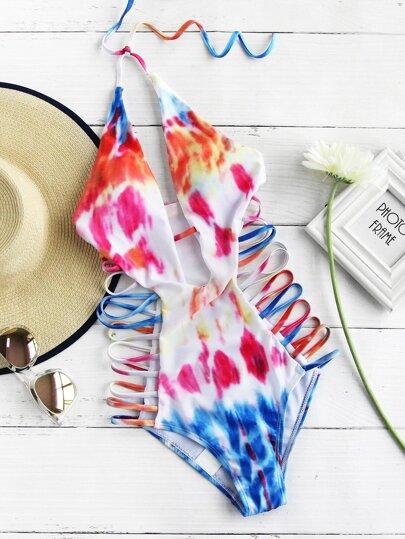 Swimwear mit V-Ausschnitt und Batikmuster