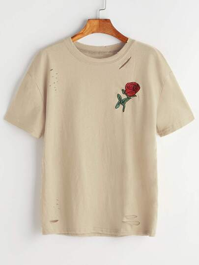 Rosa ricamata Patch Ripped Tee