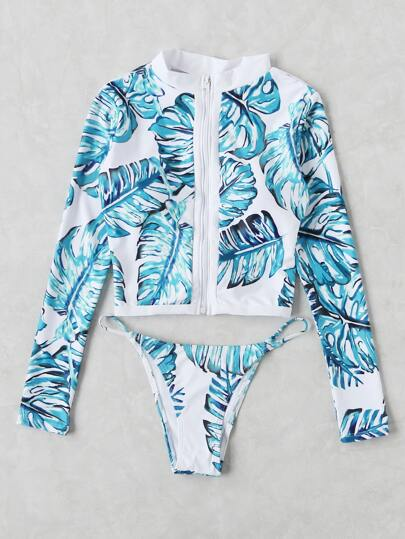 Jungle Print Long Sleeve Zipper Up Two Piece Swimwear