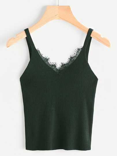 Eyelash Lace Trim Knit Top
