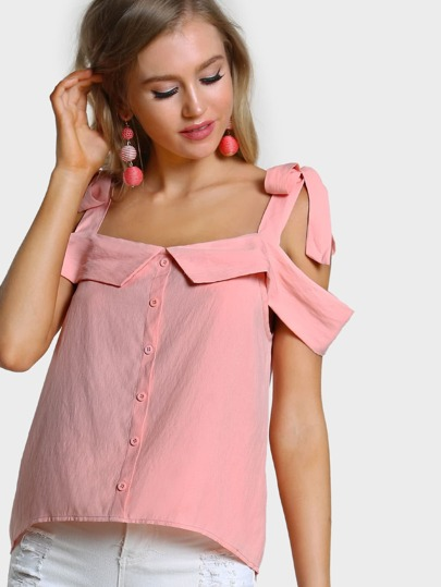 Self Tie Cold Shoulder Foldover Button Up Top