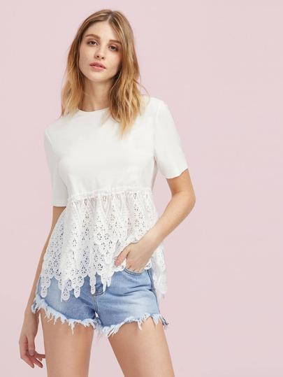 Scallop Crochet Trim T-shirt