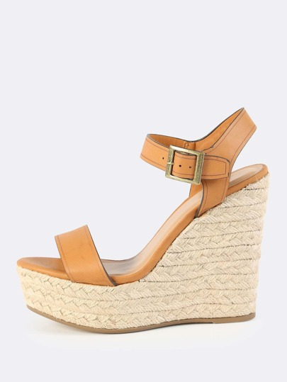 Faux Leather Espadrilles Wedges TAN