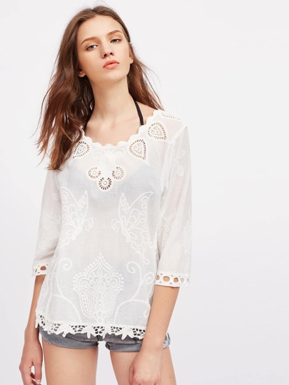 Embroidery Detail Hollow Out Cover Up