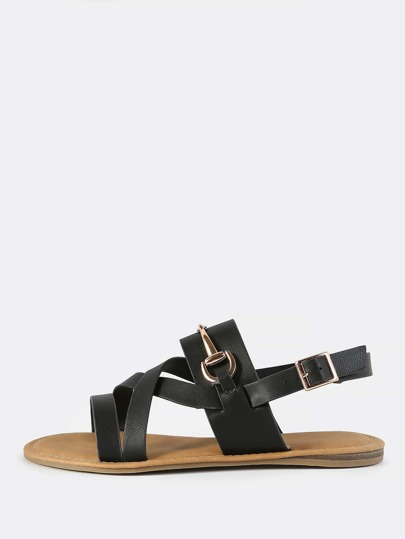 Strappy Slingback Buckle Sandals BLACK