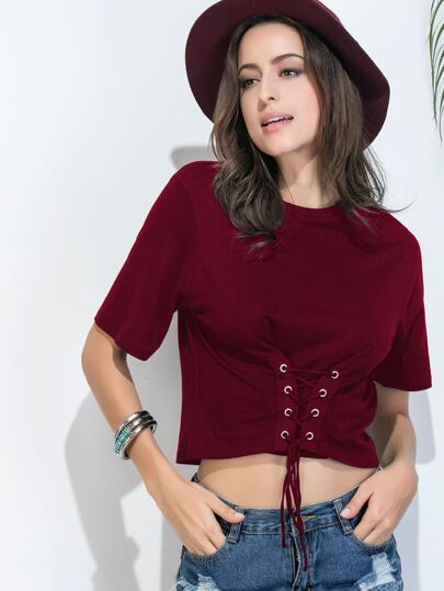Eyelet Lace Up Corset Tshirt