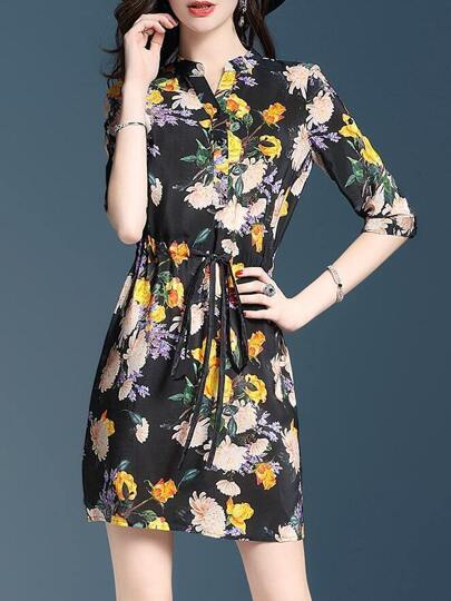 V Neck Flowers Print Drawstring Dress