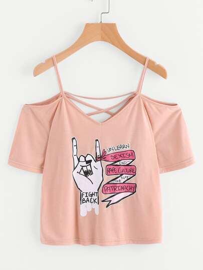 T-Shirt mit Kreuzgurte und Buchstaben