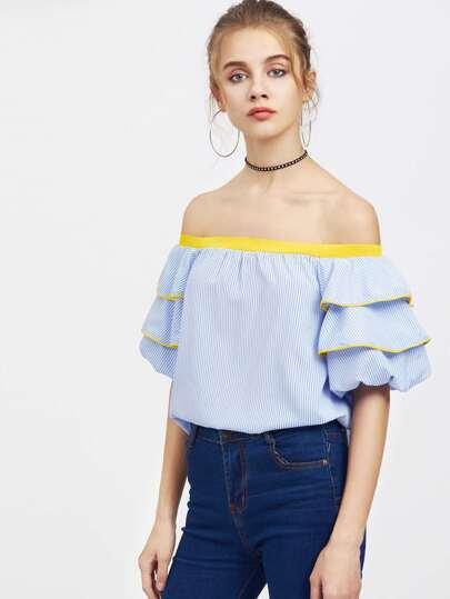 Bardot Vertical Pinstripe Contrast Trim Tiered Cuff Top