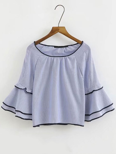 Contrast Binding Layered Bell Sleeve Top