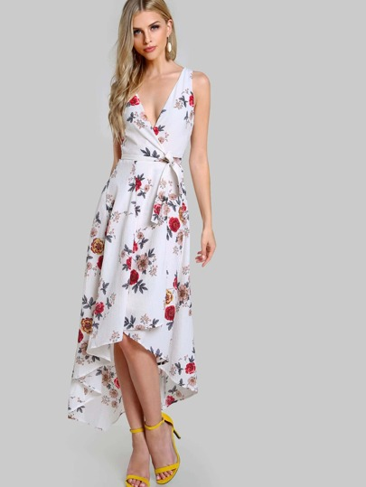 Wrap High Low Sleeveless Floral Print Dress IVORY
