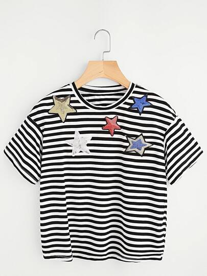 Sequin Star Applique Striped Tee