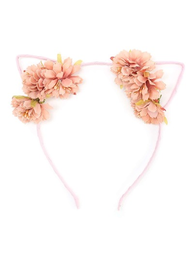 Flower Embellished Cat Ear Headband