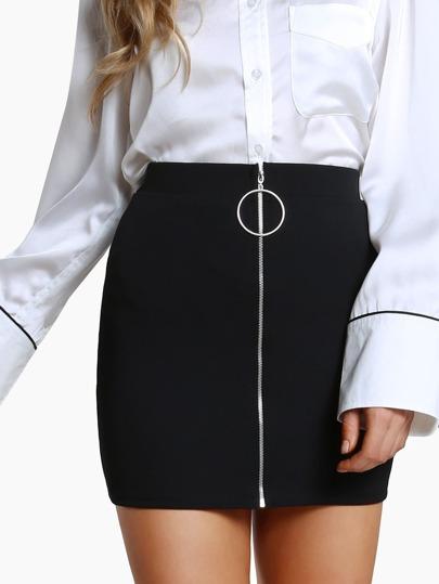 O Ring Zipper Front Skirt BLACK