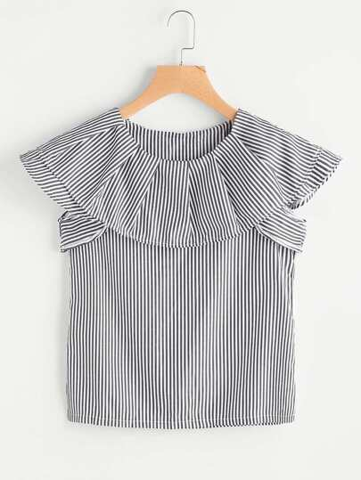 Vertical Striped Flounce Trim Blouse