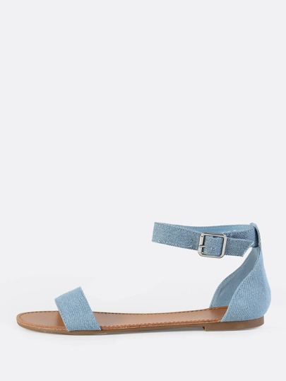 Denim Ankle Strap Sandals BLUE DENIM