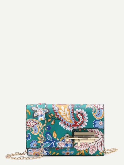 Calico Print Lock Detail Crossbody Bag