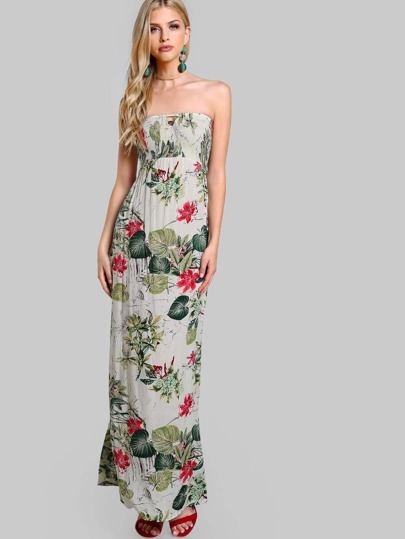 Strapless Open Back Leaf Print Maxi Dress GREEN