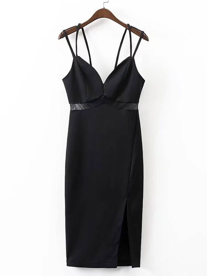 Contrast Mesh Split Side Strappy Dress