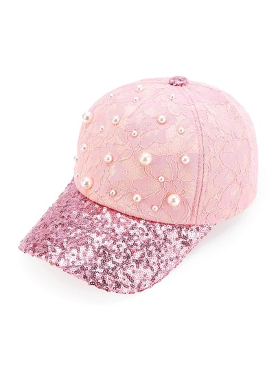 Faux Pearl & Sequin Embellished Baseball Cap