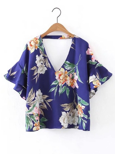 Double V Neck Bell Layered Sleeve Top