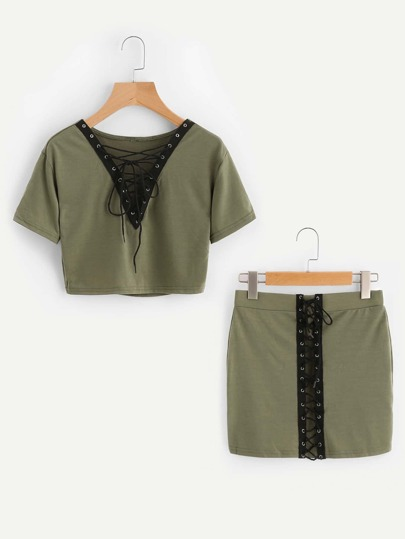 V-neckline Lace Up Tee With Skirt