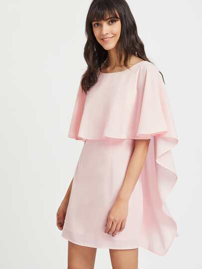 V Back Exaggerated Cape Sleeve Dress