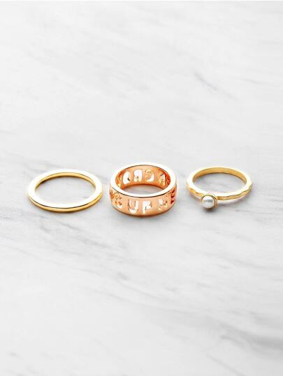Hollow Out Letter and Gemstone Design Ring 3PCS