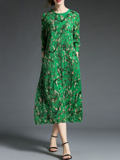 Floral Pleated Pockets Shift Dress