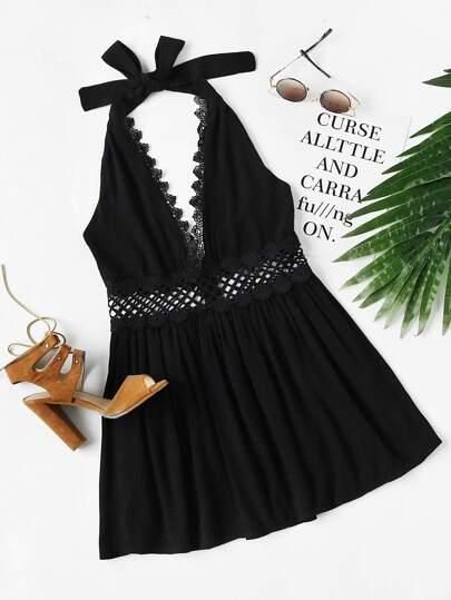 Halter Neck Lace Trim Hollow Out Dress