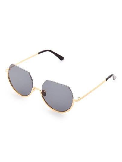 Flat Top Metal Frame Round Sunglasses