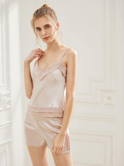 Fold Over Satin Cami Pajama Set