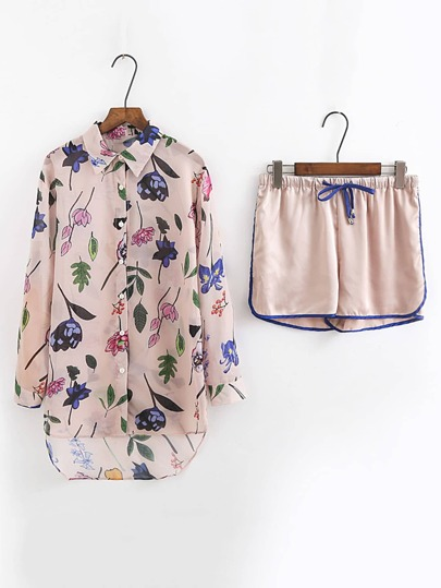 High Low Longline Blouse With Drawstring Shorts