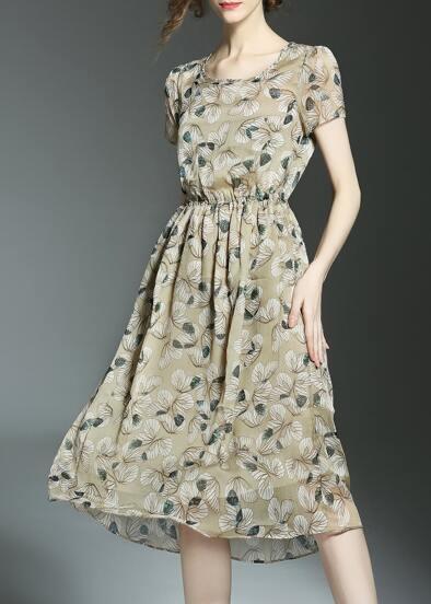 Vestito con elastico in vita con stampa di fiore