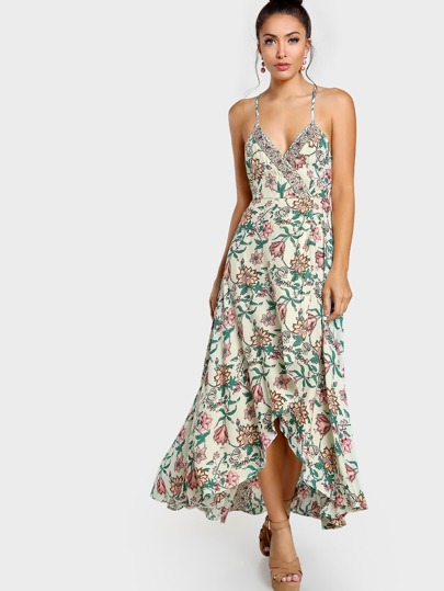 Overlay Floral Print Dress IVORY