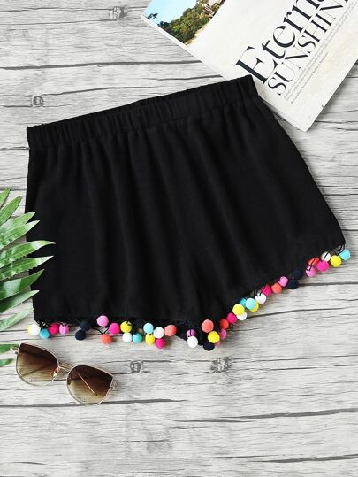 Colorful Pom Pom Trim Elastic Waist Shorts