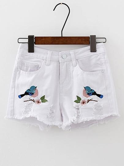 Bird Embroidery Ripped Denim Shorts