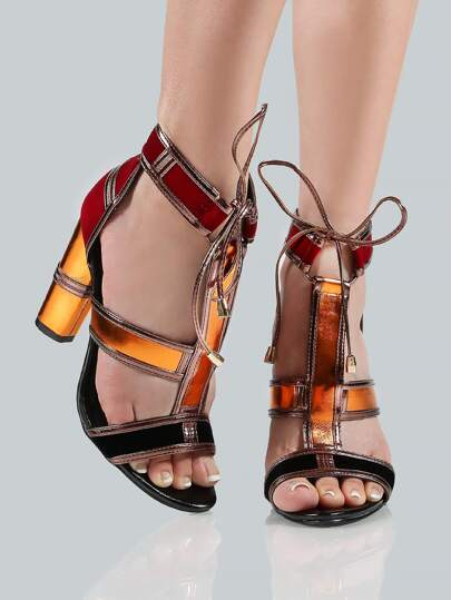 Colorblock Cage Heel MULTI