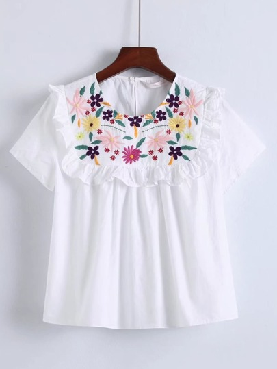 Flower Embroidery Tiered Top