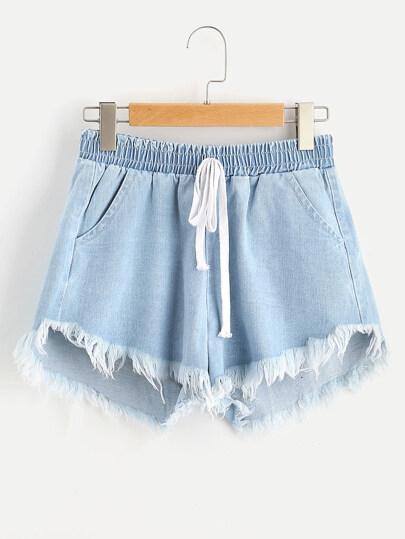 Smocked Waist Frayed Stepped Hem Denim Shorts