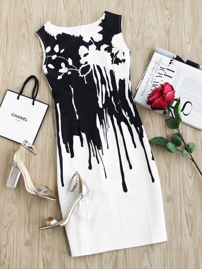 Contrast Drip Print Sheath Dress