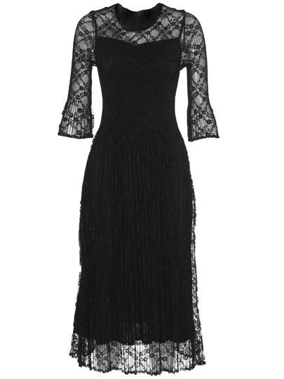 Pleated Elastic Lace A-Line Dress