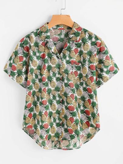 Allover Pineapple Print Revere Collar Dip Hem Blouse