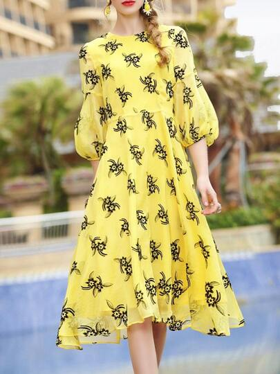 Flowers Print Belted A-Line Dress