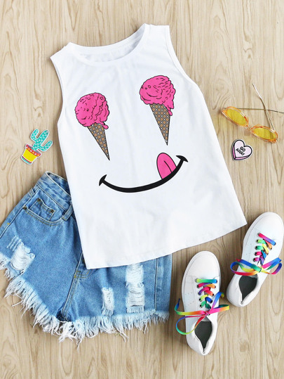 Ice Cream Print Tank Top